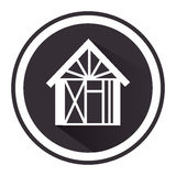 Monochrome circle pictogram with house Stock Photography