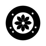 Monochrome circular border figure flower icon floral Royalty Free Stock Image
