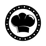 Monochrome circular border with silhouette chefs hat Royalty Free Stock Image