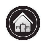 Monochrome circular button facade house icon design Royalty Free Stock Images