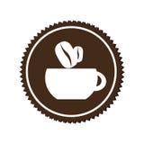 Monochrome circular emblem with coffee cup Stock Photos
