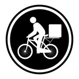 Monochrome circular emblem with delivery man in bike Stock Images