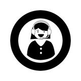 Monochrome circular emblem with female customer service Royalty Free Stock Images