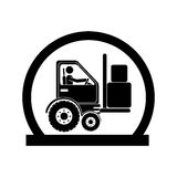 Monochrome circular emblem with forklift truck with forks Stock Image