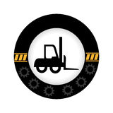 Monochrome circular emblem with gears border and forklift truck Royalty Free Stock Photography