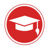 Monochrome circular emblem with graduation hat Stock Photography