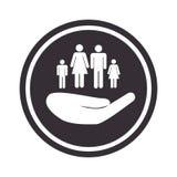 Monochrome circular emblem with hand holding family Stock Photos