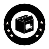 Monochrome circular emblem with open packing box with truck stamp Royalty Free Stock Photography