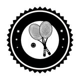 Monochrome circular frame with ball and tennis rackets Stock Photo