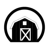 Monochrome circular frame with barn of two floors Royalty Free Stock Images