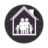 Monochrome circular frame with family in home Royalty Free Stock Photo