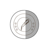 Monochrome circular frame with middle shadow sticker with dropper Stock Photography
