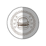 Monochrome circular frame with middle shadow sticker with hamburger Royalty Free Stock Photos