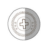 Monochrome circular frame with middle shadow sticker with medical cross. Vector illustration Stock Image