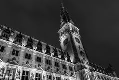 The monochrome City Hall of Hamburg Royalty Free Stock Photo