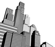 Monochrome city skyscrapers Stock Photos