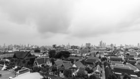 Monochrome Cityscapes in Bangkok , Thailand. Black and White Today the sky`s overcast royalty free stock photography