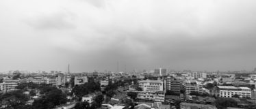 Monochrome Cityscapes in Bangkok , Thailand. Black and White Today the sky`s overcast royalty free stock photo