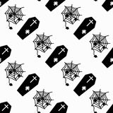 Monochrome coffins and cobweb on white background seamless pattern vector illustration. (vector eps 10 vector illustration