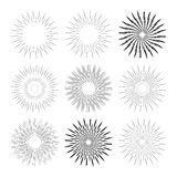 Monochrome collection of retro hand drawn sunbursts isolated on white background. Vector Stock Photos