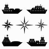 Monochrome collection of ships icons Royalty Free Stock Image