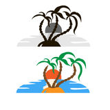 Monochrome and colored palms, ocean, island and sun. Royalty Free Stock Images