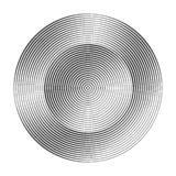 Monochrome concentric circles with different width that makes a. Monochrome concentric circles with different width. halftone element for design. optical stock illustration
