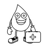 monochrome contour with animated drop blood symbol and donation equipment Stock Photography