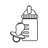 Monochrome contour with baby bottle and pacifier Stock Image