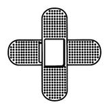 Monochrome contour with band aid in cross form Royalty Free Stock Images