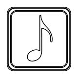 Monochrome contour with button of sign eighth note Royalty Free Stock Photo