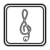 Monochrome contour with button of treble clef. Illustration Royalty Free Stock Photos