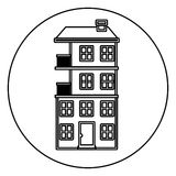 Monochrome contour circle of apartment with several floors Royalty Free Stock Image