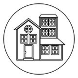 Monochrome contour circle of house with three floors Stock Images