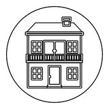 Monochrome contour circle of house with two floors and balcony Royalty Free Stock Image