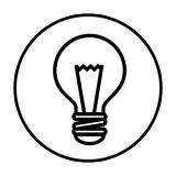 Monochrome contour with circular frame with bulb light Royalty Free Stock Photo
