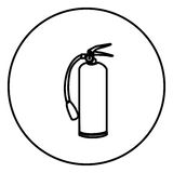 Monochrome contour circular frame with extinguisher. Illustration Royalty Free Stock Photos