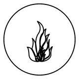Monochrome contour circular frame with flame icon Stock Photos