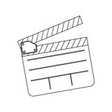 Monochrome contour with clapperboard film. Illustration Royalty Free Stock Photo
