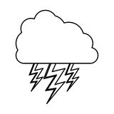 Monochrome contour of cloud with lightnings Royalty Free Stock Images