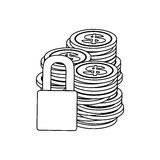 Monochrome contour of coins stacked and padlock Royalty Free Stock Images