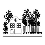 monochrome contour of cottage in the forest in white background Stock Images
