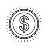 Monochrome contour in currency symbol dollar. Vector illustration Stock Image