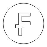 Monochrome contour with currency symbol of frank french and belgian in circle Royalty Free Stock Photo