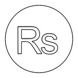 Monochrome contour with currency symbol of india rupee in circle Royalty Free Stock Photo
