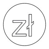 Monochrome contour with currency symbol of poland zloty in circle Stock Image