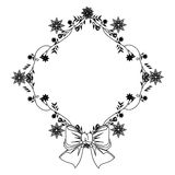 Monochrome contour with diamond frame with creepers and violet flowers and ribbon Royalty Free Stock Photo