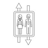 Monochrome contour with double sign arrow with man with mustache and woman with short hair Royalty Free Stock Image