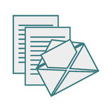 Monochrome contour with envelope mail and documents sheets Royalty Free Stock Photography