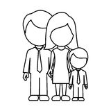 monochrome contour faceless with dad mom and son in formal clothes Stock Image